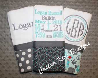 Boys Gray and Teal Baby Burp Cloth Gift Set with Birth Stats- Set of 3 Custom Monogrammed Burp Cloths
