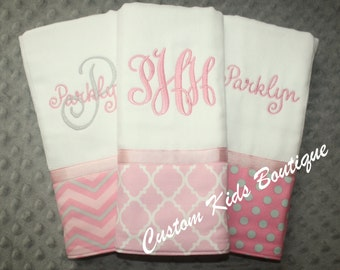 Pink and Gray Baby Girl Burp Cloth Gift Set- Set of 3 Custom Monogrammed Burp Cloths