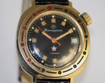 VOSTOK(Wostok) KOMANDIRSKIE Chistopol MILITARY SERViCED watch 17 Jewels Luminescent Dial made in USsR