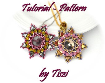 Beading pattern, tutorial for beaded pendant Helka with Kheops and SuperDuo beads, PDF instructions, step by step pendant tutorial