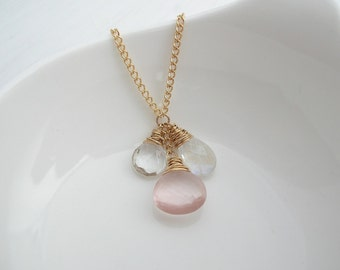 Rose Quartz, Moonstone and Crystal Necklace