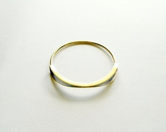 Oxidized Brass Bangle-Statement Bangle Bracelet-Arc Bangle-Gold Bangle Bracelet-Modern Bangle Bracelet-Contemporary Minimalist Brass Jewelry