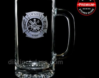 Gifts for Firefighters - FIRE DEPARTMENT BEER Mugs - Personalized Etched Glass - Firefighter Beer Mugs Fireman Beer Mugs, Fire Chief - 16oz