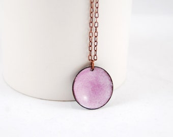 Pretty Shimmery Pink Domed Circle Enamel Pendant Necklace