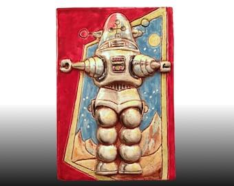 Ceramic Art Tile, Retro ROBBY The ROBOT, 4 x 6 Handmade Tile, Wall Plaque, 1950s Science Fiction Art