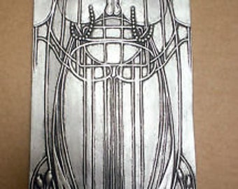 Art nouveau mackintosh style wall plaque in a silver or bronze effect