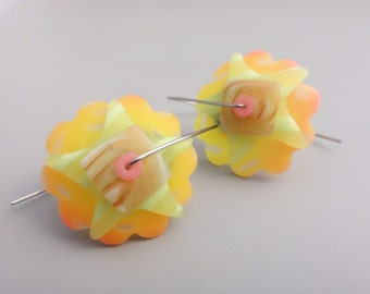 Orange yellow Translucent disk earrings by Marie Segal