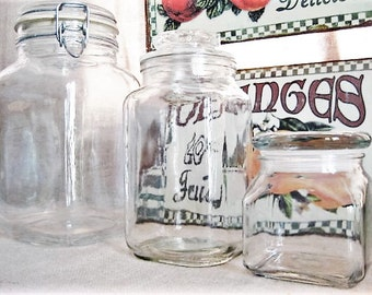 Vintage Square Glass Canisters / 3 Glass Jars for Storage and Organization / Eclectic Mix of Square Canister Jars