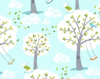 Michael Miller Backyard Baby Windy Day Aqua fabric - 1 yard