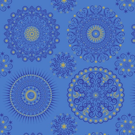 Quilting treasures celestial sol mandala blue fabric 1 yard for Celestial fabric by the yard