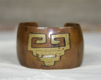 Copper Cuff Bracelet With Brass Inlay