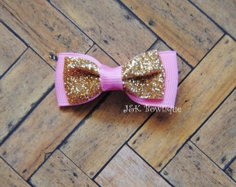Pink and gold sparkle hair bow....Mini bow tie bow...Bling