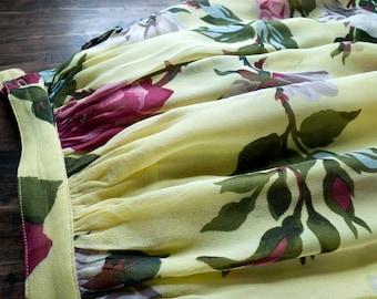 Vintage Adrienne Vittadini ETHEREAL floral ROSE print SILK midi skirt / 80s 90s designer silk skirt