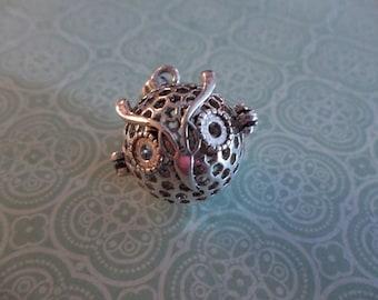 Round Owl Head Prayer Box Pendant - Silver 18x28mm Locket - Qty 1