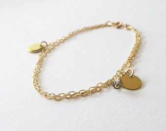 Léa | Gold Filled Asymmetrical Coin Bracelet | Layered Chain | Gray and Gold