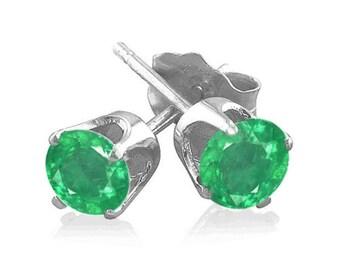 colombian emerald sterling silver stud earrings