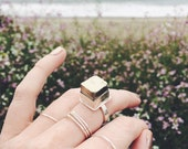 Large Pyrite Cube Crystal Sterling Silver Ring - Your Size