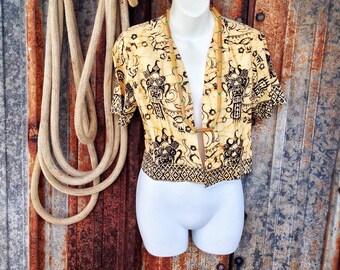 tribal print crop jacket / short sleeve shrug / batik print