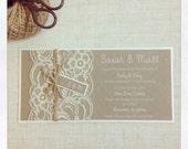 Rustic lace wedding wedding invitations - WHITE INK - lace wedding invites SAMPLE