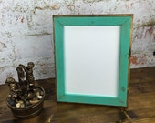 8 x 10 Picture Frame, Aqua Rustic Weathered Style With Routed Edges, You Pick Your Color and Finish