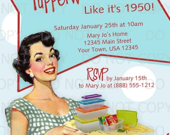 Printable DIY 50's Retro Housewife Theme Tupperware Party Invitation