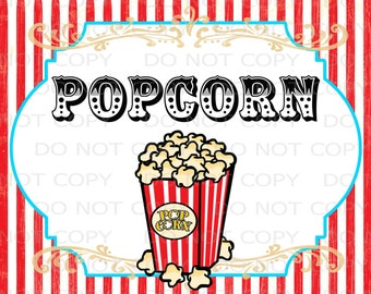 "Printable DIY Vintage Circus Popcorn Table sign - 8.5"" x 11"" INSTANT DOWNLOAD"