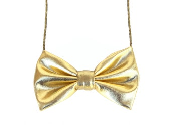 Shinny Golden - Bow Tie Necklace, Casual Bowtie Yellow Gold Necklace