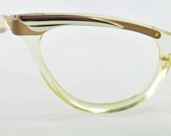 Vintage Cat Eye Glasses, Titmus, Amber with Gold Brow Decoration 1950s, 1960s