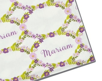 Personalized Name Swaddle - Purple Flower Garland