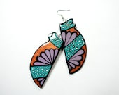 Long and Lean Handpainted Custom Shaped Modern Copper and Aqua-Green New Mexican Flower Blossom Inspired Earrings