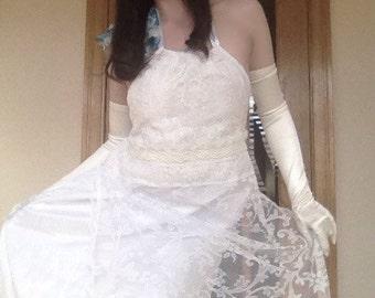 Handmade One of a kind lace bohemian maxi dress size S