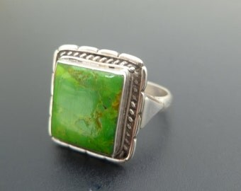 Lime Green Turquoise Ring - Handmade Sterling Silver and Bright Green Turquoise Ring - Green Square Statement Ring - Square Ring - Size 7.4