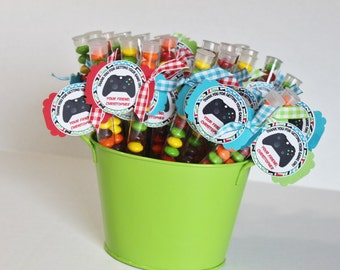 Gaming Party Favors, video game party, candy, treats, personalized treat stacks, favor, boy birthday, video games, gamer favor
