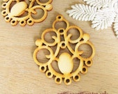 WP13 / #11 Nature Wood  / Filigree Wood Circle Pairs for Earring / Cold Color Laser Cut  Circle Wooden Charm /Pendant /Wood earring drop