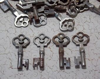 Crown Top Silver Rustic Skeleton Key Blank 6 Uncut Locksmith Keys