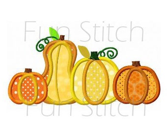 Fall pumpkins application machine embroidery design