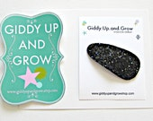 Black Glitter Snap Clip, Hair Bows for girls, giddyupandgrow