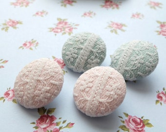 Fabric Covered Buttons - Chic Embroidery Wedding Lace White Floral Stripe Lace On Pink Soft Blue (4Pcs, 0.87 Inch)