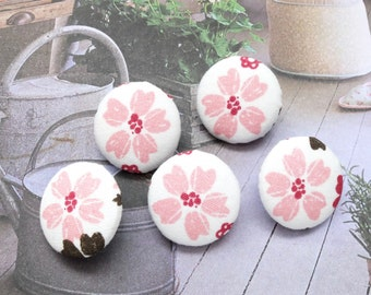 Fabric Covered Buttons (M) - Chic Japanese Pink Cherry Blossom Sakura Floral On White (5Pcs, 0.75 Inch)