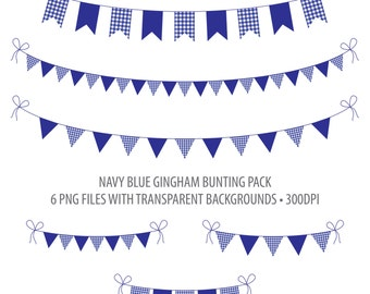 Blue Bunting Clip Art Navy Blue Gingham Instant Download Printable Bunting Blue Gingham Flag Bunting Penant Bunting