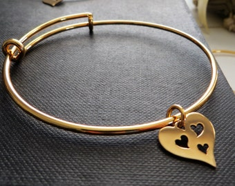 Mother of three bracelet, 3 heart cutout bangle, gift for mom of triplets, gold bangle, expandable, wife