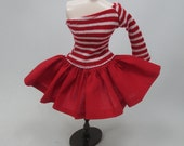 Outfit Clothing Fashion costume Handmade for Blythe Doll strips dress 955-36