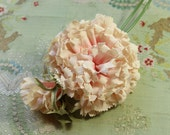 Large blush pink vintage millinery flower carnation trim green leaves velvet accents deep shade  hat cloche bonnet