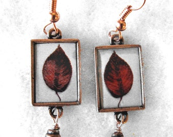 Single autumn leaf earings