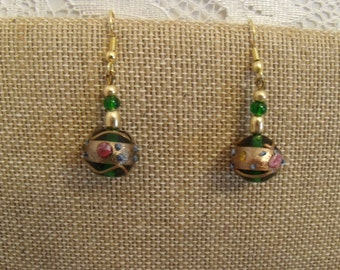 Hand Painted Green Glass Bead Earrings