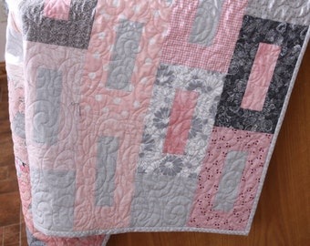 Modern Winter Pink and Gray Lap Quilt