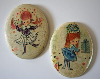 2 Adorable Vintage 1960s Chalkware Plaques...Cute Little Girls...Kawaii...Retro...Kitsch...Holly Hobbie era