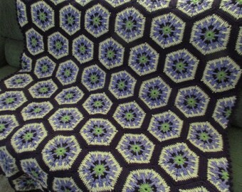 Handmade Crochet Violet and Purple Kaleidoscope Afghan  48 x 68