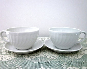 Vintage 2 Demitasse Cups & Saucers by Vista Alegre China, Made in Portugal 1980's  - Shabby Chic Cottage - All White Cup and Saucer