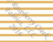 Mustard Yellow and White Stripe 4 Way Stretch FRENCH TERRY Knit Fabric, Club Fabrics
